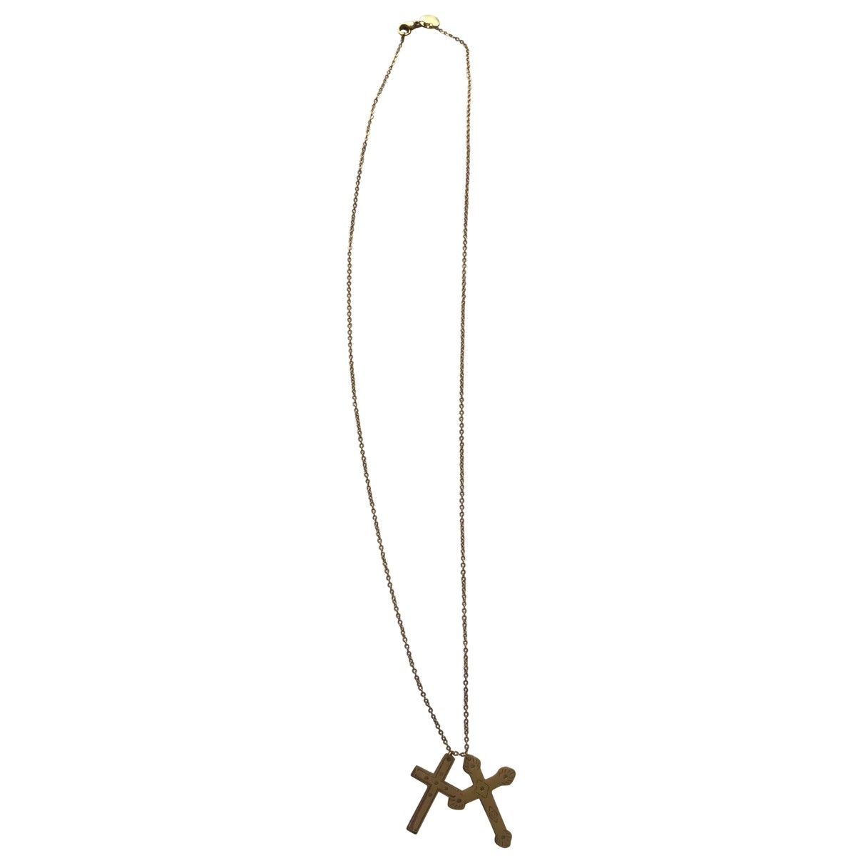 Non Signe / Unsigned Motifs Religieux Kette in  Gold Stahl