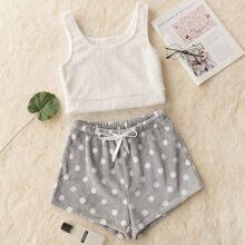 Conjunto de pijama top tank unicolor con shorts de lunares