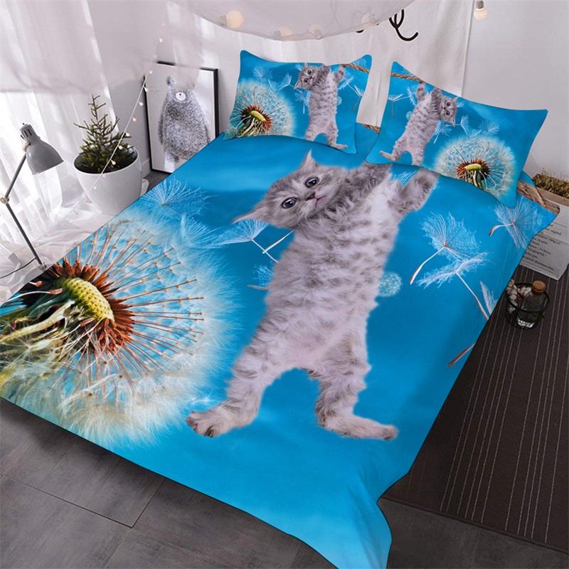 Kitten and Taraxacum 3D Warm Comforter 3-Piece Soft Comforter Sets with 2 Pillowcases