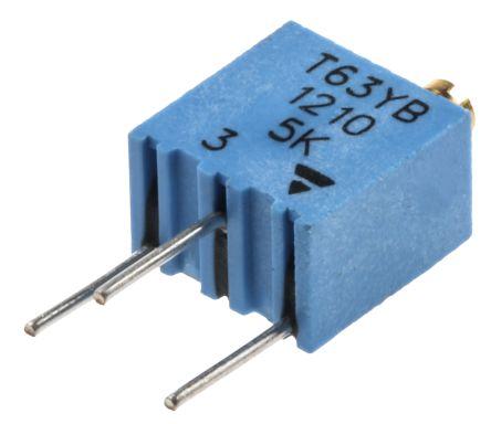 Vishay 5kΩ, Through Hole Trimmer Potentiometer 0.25W Top Adjust , T63