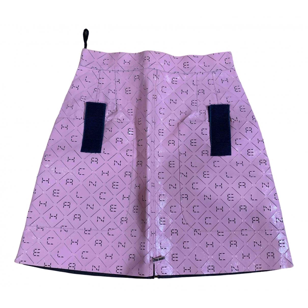 Chanel - Jupe   pour femme en cuir - rose