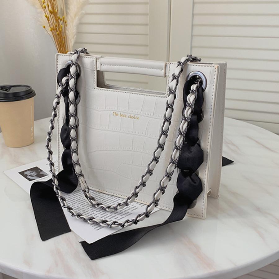 LW lovely Chic Chain Strap White Messenger Bag