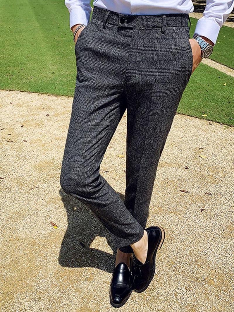 Ericdress Ankle Length Zipper Straight Men's Suit Trousers