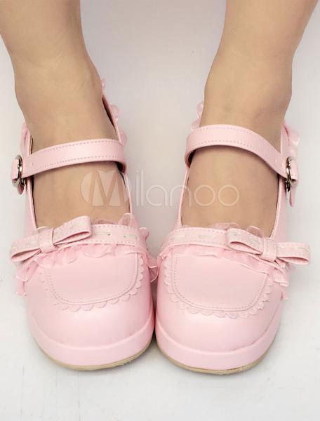Milanoo Sweet Lolita Shoes Pink Bow Straps Round Toe Lolita Pumps