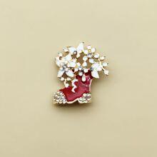 1 pieza broche con diseño de bota de Navidad con diamante de imitacion