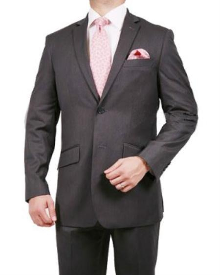 2 Button Grey Pinstriped Suit Mens Cheap