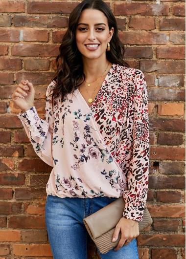 V Neck Long Sleeve Floral Print Blouse - XL
