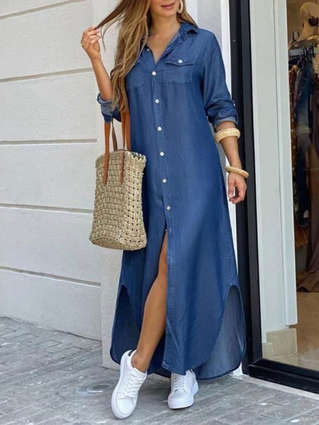 Milanoo Women Shirt Dresses Blue Turndown Collar Long Sleeve Denim Maxi Dress