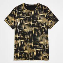 Camiseta de cuello redondo de tie dye