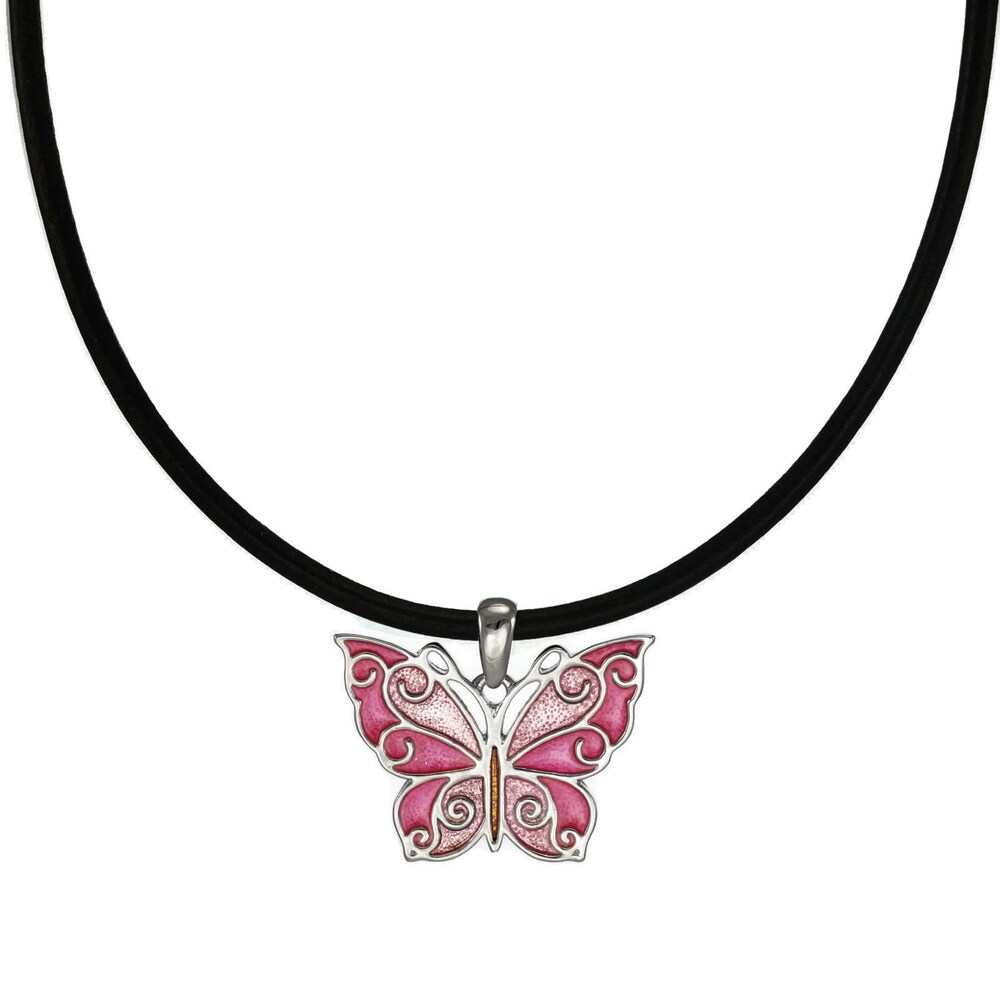 Handmade Jewelry by Dawn Pink Butterfly Leather Cord Necklace (USA) (18 Inch)