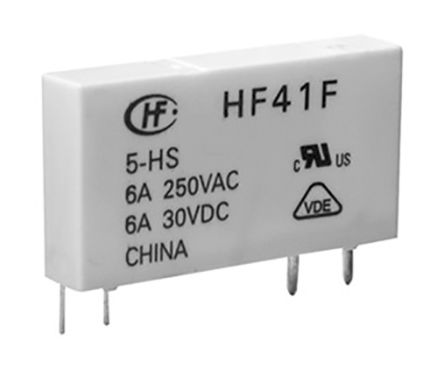 Hongfa Europe GMBH , 12V dc Coil Non-Latching Relay SPDT, 6A Switching Current PCB Mount Single Pole