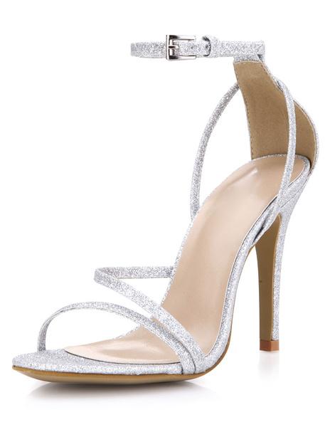 Milanoo Noche de Glitter plata y sandalias de novia para mujeres