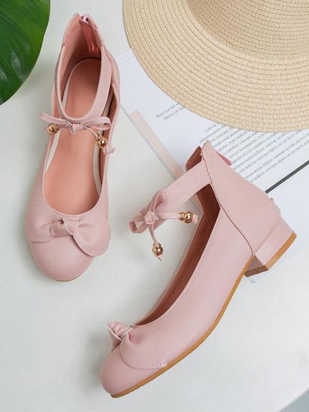 Milanoo Sweet Lolita Footwear Pink Bows Round Toe PU Leather Lolita Pumps