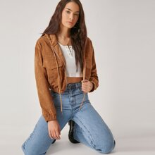 Flap Pocket Drop Shoulder Cord Jacket