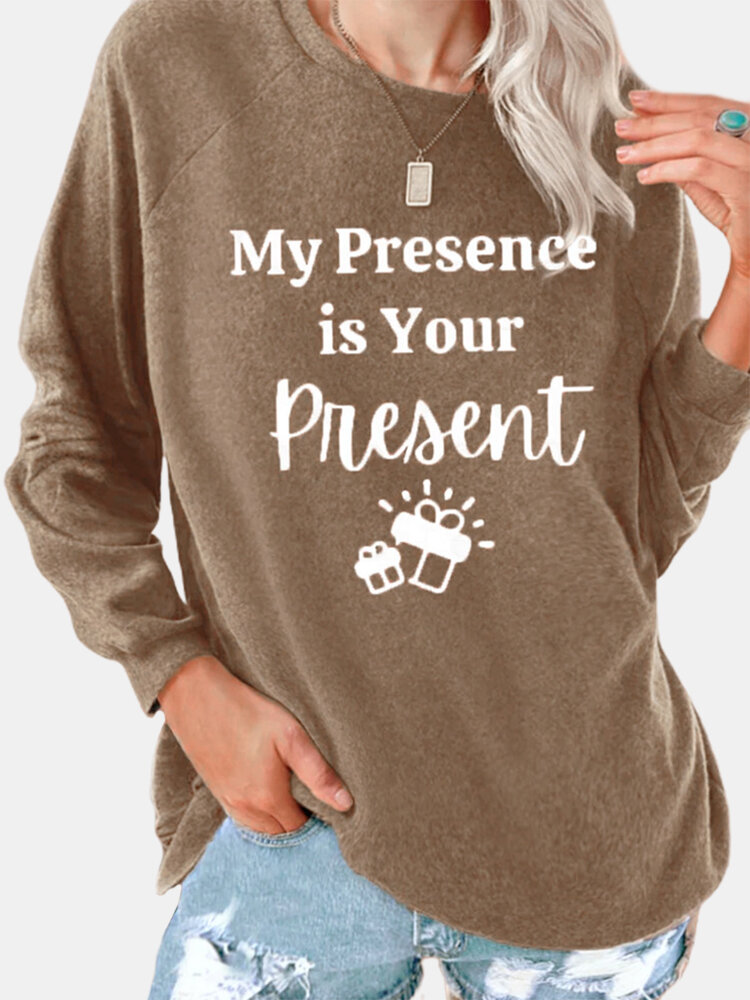 Casual Letters Print O-neck Long Sleeve Plus Size T-shirt