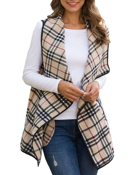 Milanoo Woman Coat Plaid Designed Neckline Casual Yellow Color Block Piping Winter Coat
