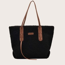 Letter Patch Fluffy Tote Bag