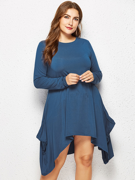 Yoins Plus Size Lake Blue Pocket Design Asymmetrical Hem Dress