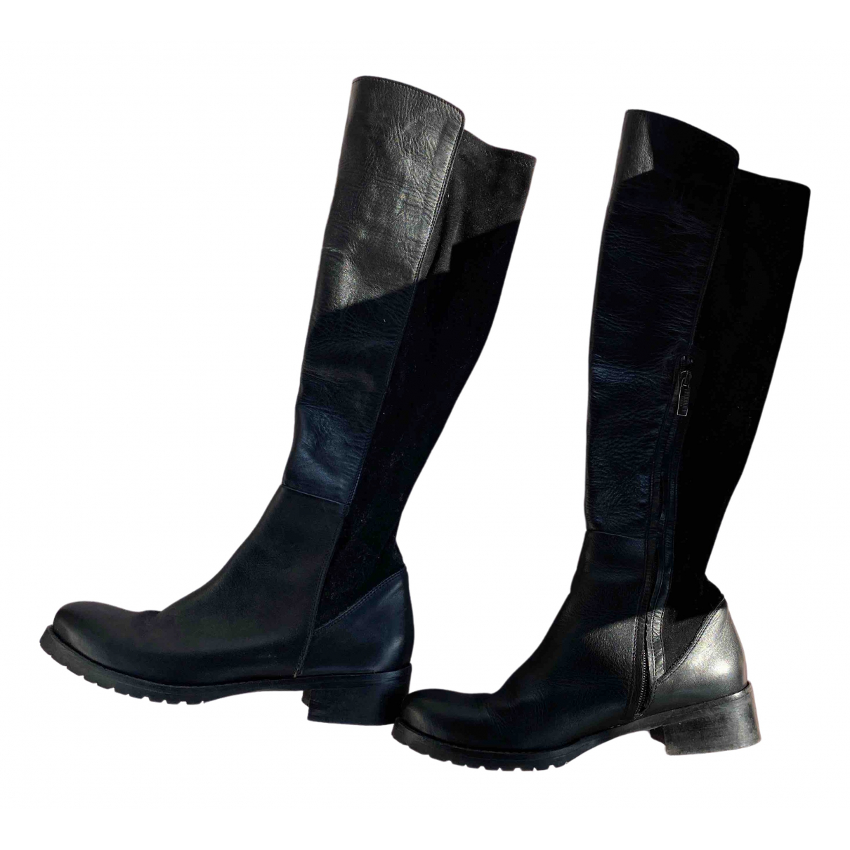 Non Signé / Unsigned \N Black Leather Boots for Women 39 EU
