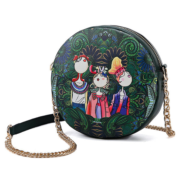 Faux Leather Print Round Chain Bags Shoulder Bags For Women