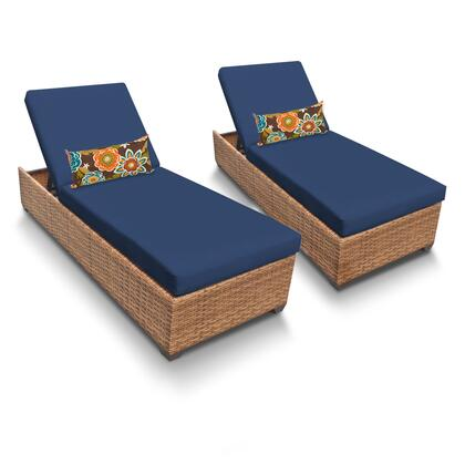 LAGUNA-2x-NAVY Laguna Chaise Set of 2 Outdoor Wicker Patio Furniture with 2 Covers: Wheat and