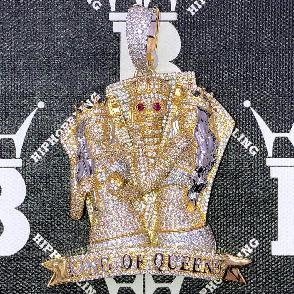 King Of Queens Skull CZ Hip Hop Bling Bling Pendant