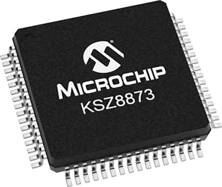 Microchip KSZ8873MLLI Ethernet Switch IC, MII, 10/100Mbit/s 3.3 V, 64-Pin LQFP (160)