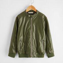 Boys Zip Up PU Leather Jacket