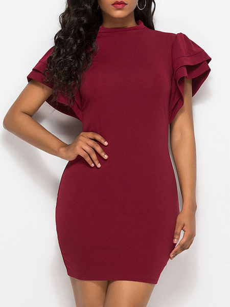Milanoo Bodycon Dresses Burgundy Short Sleeves Casual Jewel Neck Midi Dress Sheath Dress