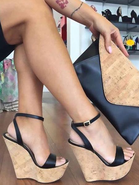 Milanoo Sandalias Plataforma Negras De Mujer 2020 Puntera Abierta Detalles De Hebilla Correa De Tobillo