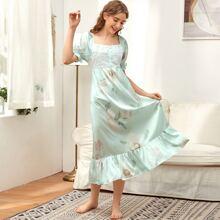 Guipure Lace Floral Print Ruffle Hem Night Dress