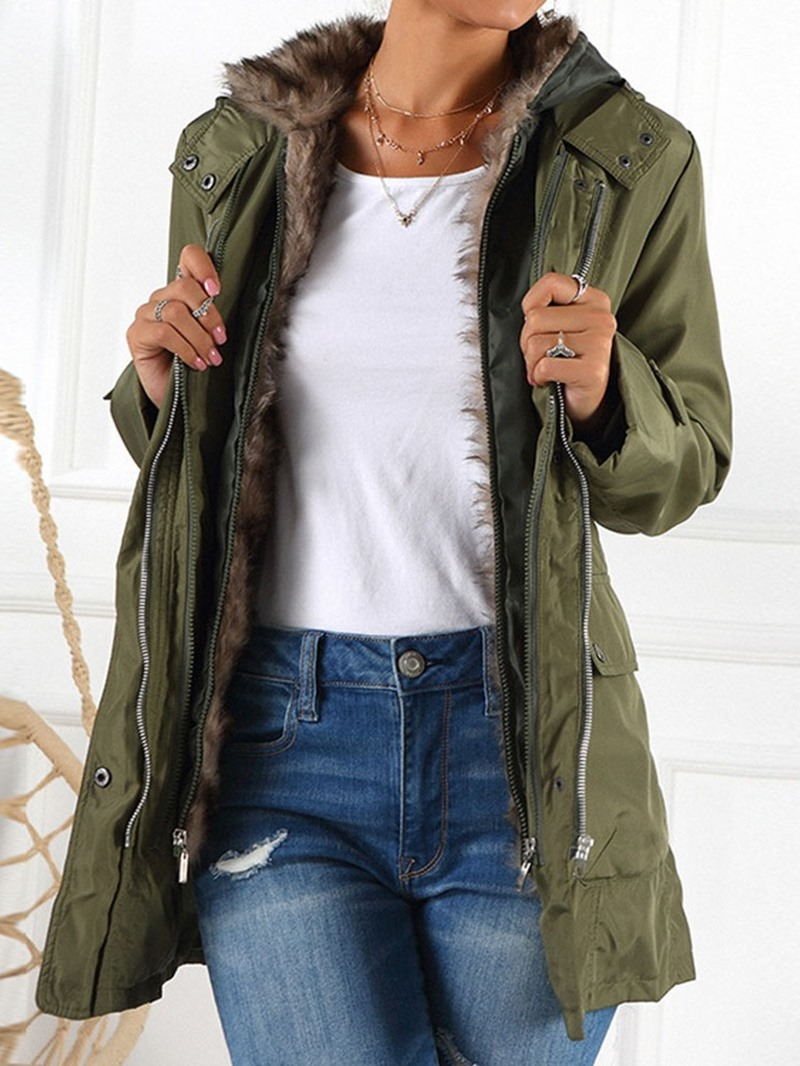 Ericdress A Line Zipper Patchwork Mid-Length Cotton Padded Women's Jacket