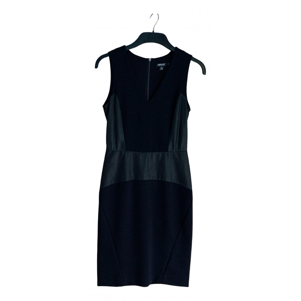 Dkny - Robe   pour femme en cuir - noir