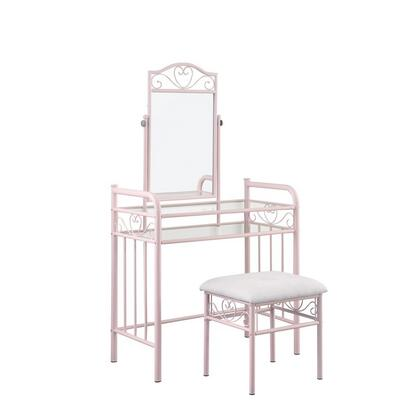 BM215933 Traditional Style Metal 2 Piece Vanity Set with Glass Top  Pink and