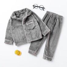 Outfits dos piezas para niña pequeña Boton Letras Casual