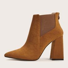 Point Toe Chunky Heeled Chelsea Boots