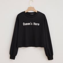 Slogan Graphic Drop Shoulder Sweatshirt
