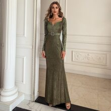 Buckle Belted High Low Glitter Prom Dress