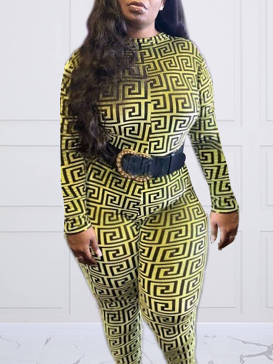 LW Lovely Casual O Neck Geometric Print Green Plus Size One-piece Jumpsuit(Without Belt