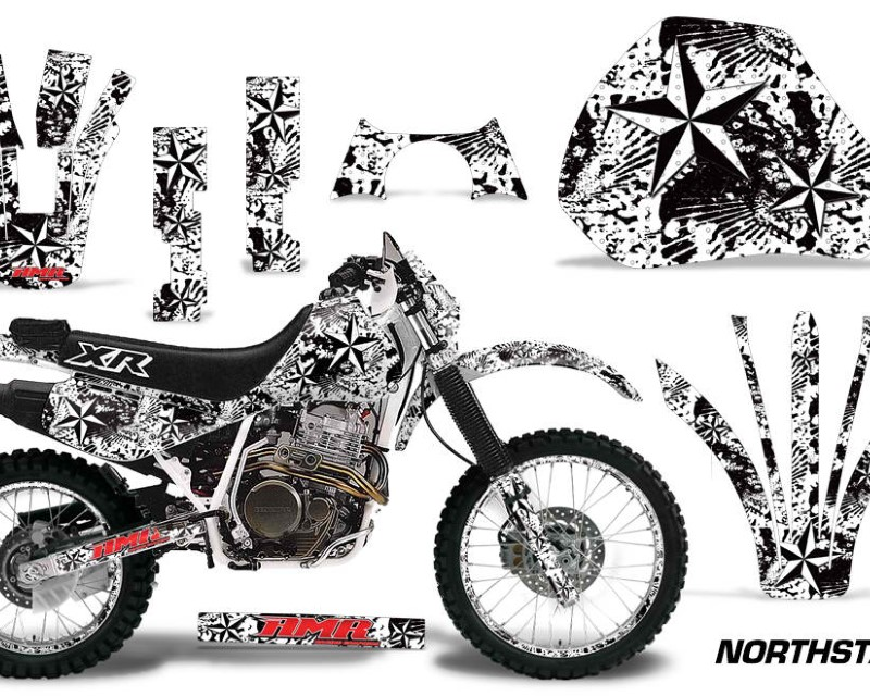 AMR Racing Graphics MX-NP-HON-XR600R-91-00-NS W Kit Decal Sticker Wrap + # Plates For Honda XR 600R 1991-2000áNORTHSTAR WHITE