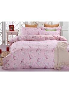 Romantic Pink Rose 100% Cotton 4-Piece Duvet Cover Sets