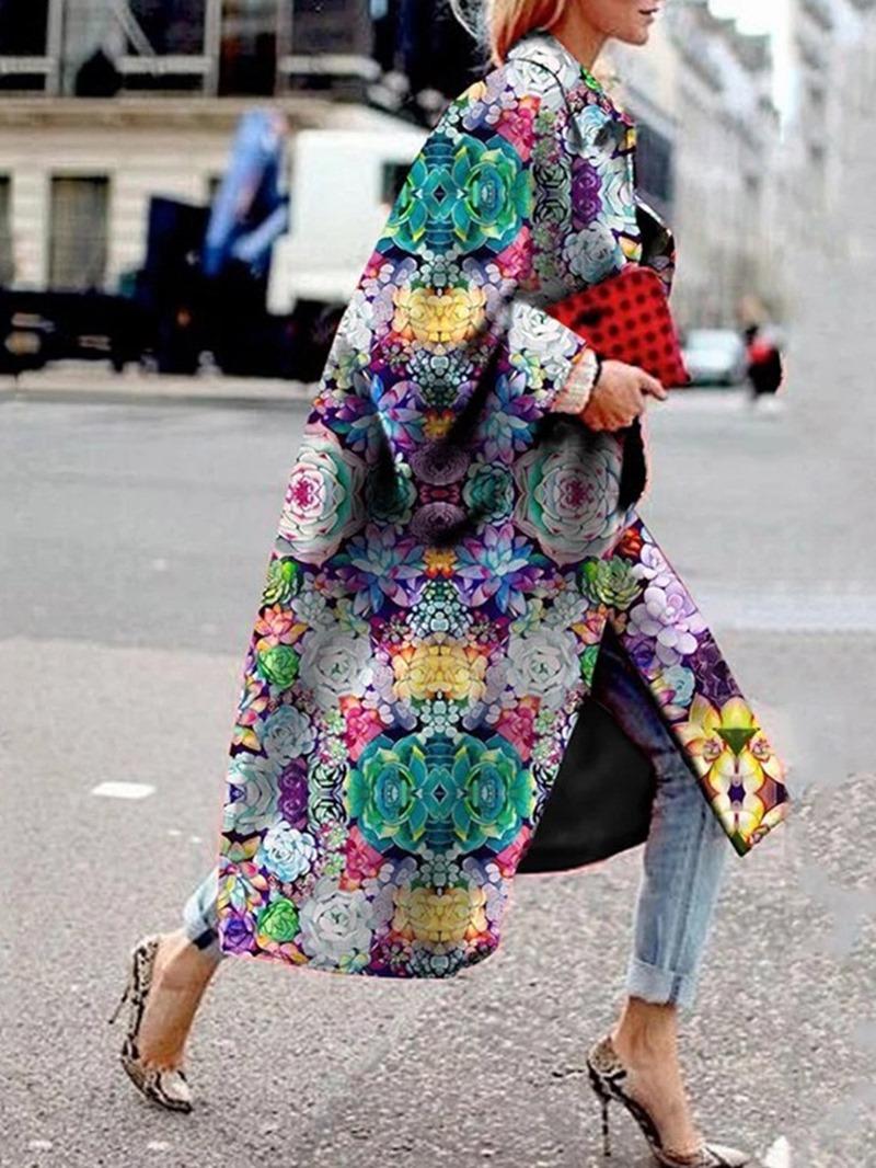 Ericdress Loose Print Long Winter Overcoat