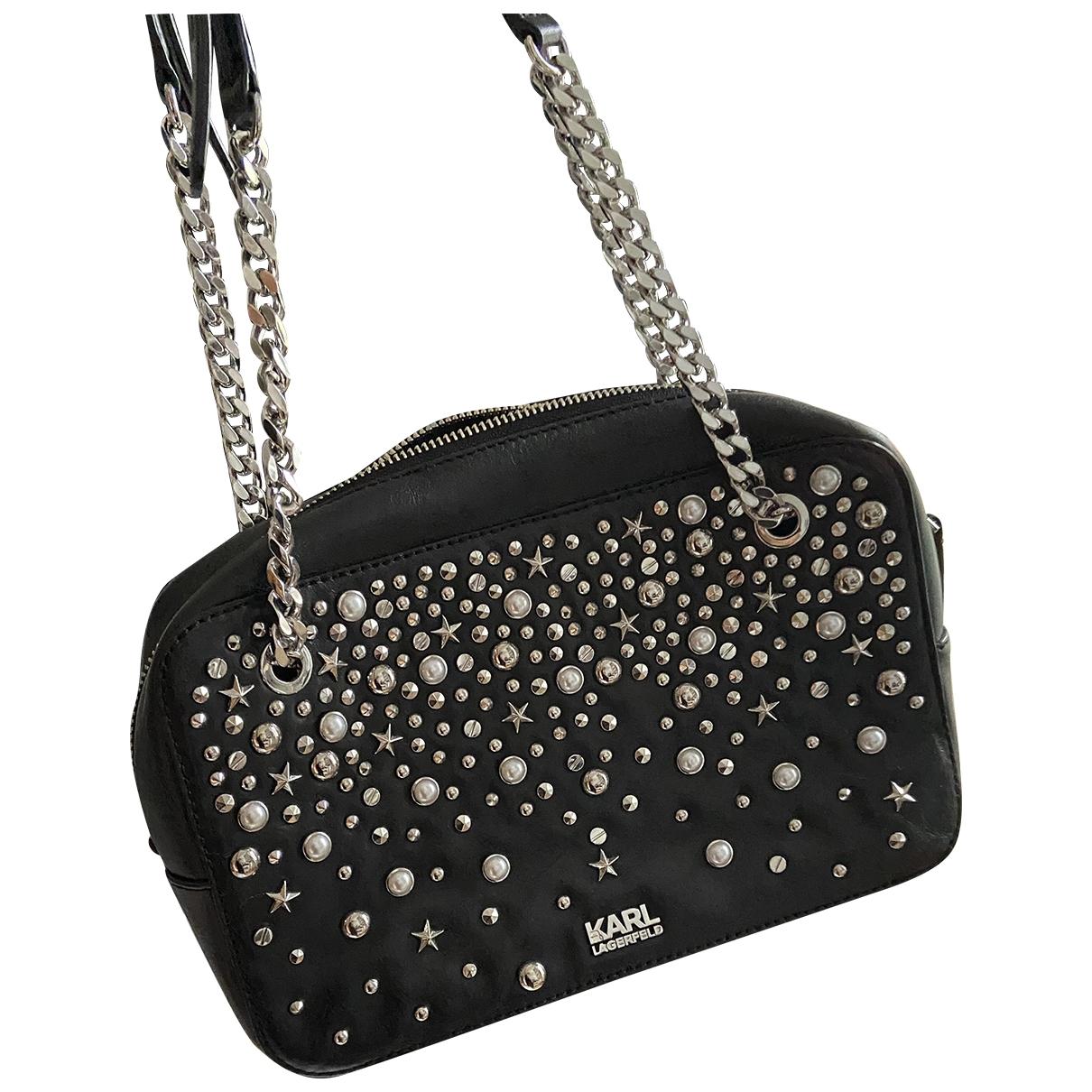Karl Lagerfeld \N Handtasche in  Schwarz Leder