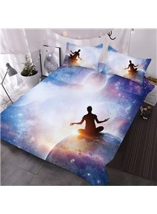 A Person Who Sits On The Earth In The Universe Printed 3-Piece Comforter Sets