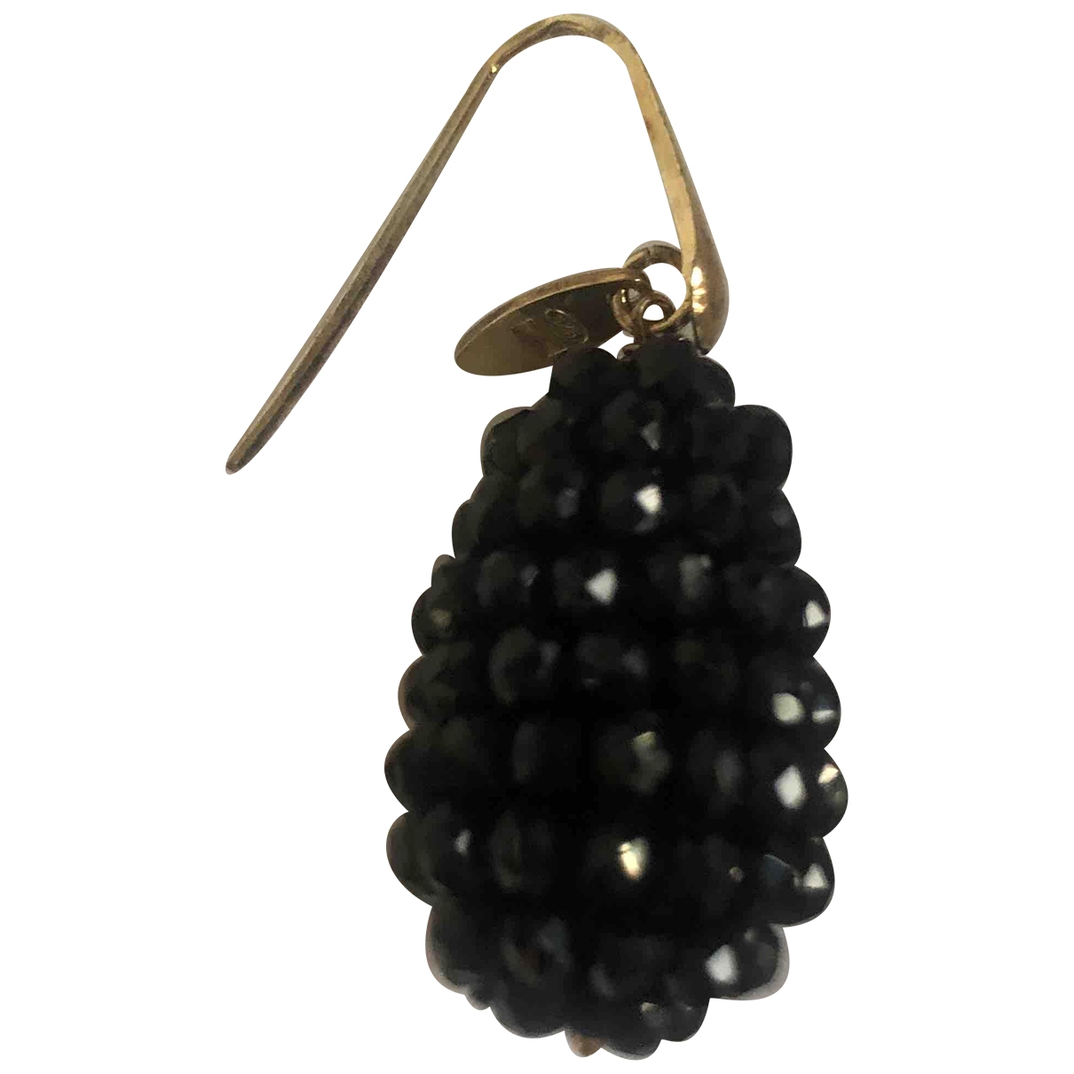 Non Signé / Unsigned \N Black Glass Earrings for Women \N