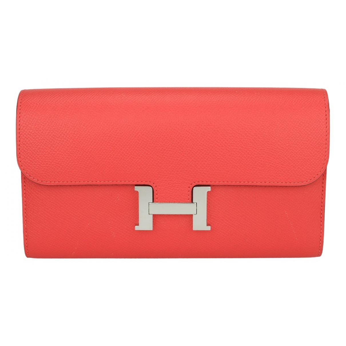 Hermes - Portefeuille Constance pour femme en cuir - rouge