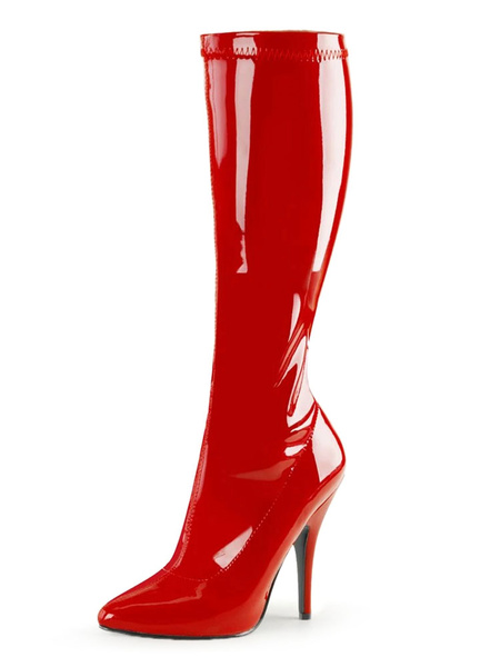 Milanoo Sexy High Heel Boots Pointed Toe Sequins Stiletto Heel Rave Club White Thigh High Boots