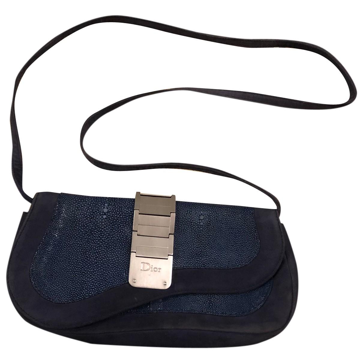 Dior - Sac a main   pour femme en suede - bleu