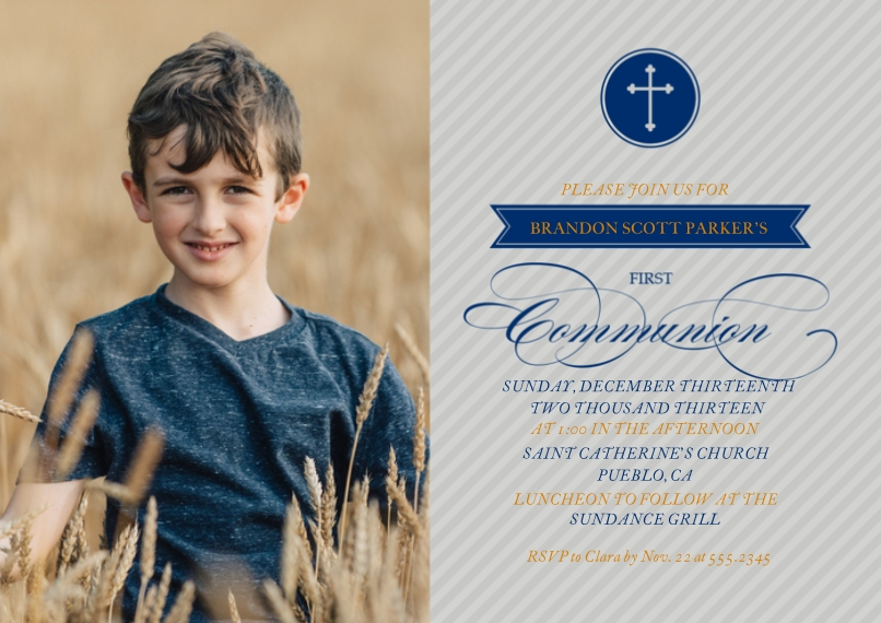 Thank You Cards Flat Glossy Photo Paper Cards with Envelopes, 5x7, Card & Stationery -First Communion Blue