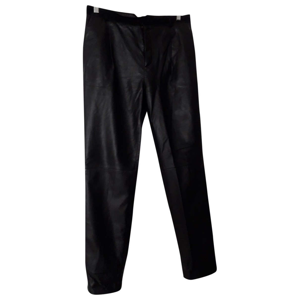 Joseph \N Black Leather Trousers for Women 38 FR